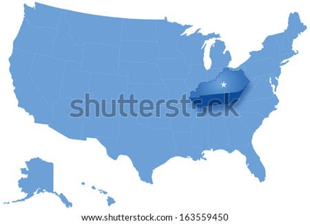 Political map of United States with all states where Kentucky is pulled out