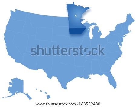 Political map of United States with all states where Minnesota is pulled out