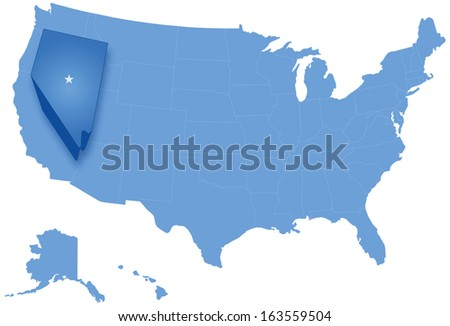 Political map of United States with all states where Nevada is pulled out
