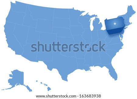 Political map of United States with all states where Pennsylvania is pulled out