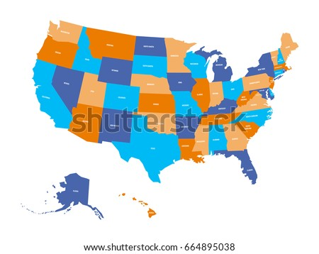 Colorful Usa Map States Capital Cities Stock Vector - Us map with capitals and cities