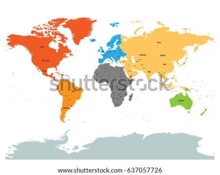 political map of world with antarctica continents in different colors on white background black