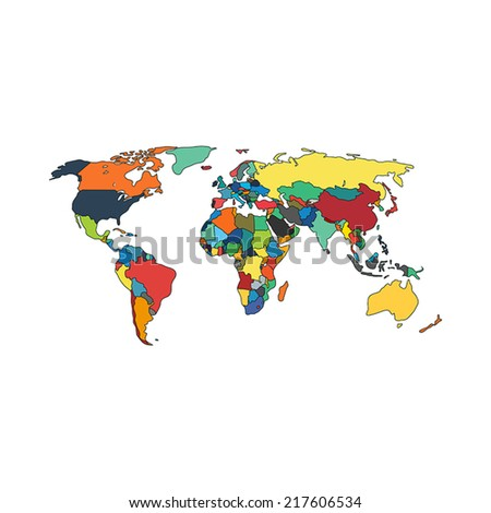 Political map of world with countries. Vector illustration. - stock vector