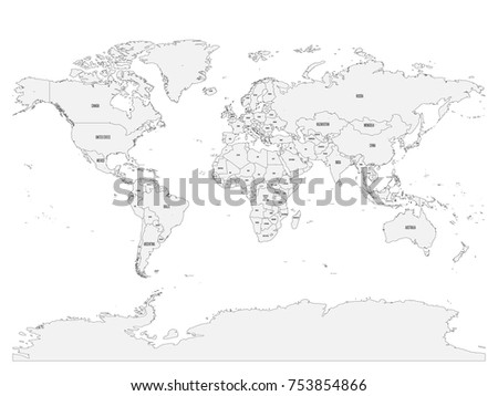 Political map world country names capital stock vector 753854866 political map of world with country names and capital cities gray vector map gumiabroncs Images