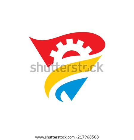 Political mechanism abstract sign Branding Identity Corporate vector logo design template Isolated on a white background - stock vector
