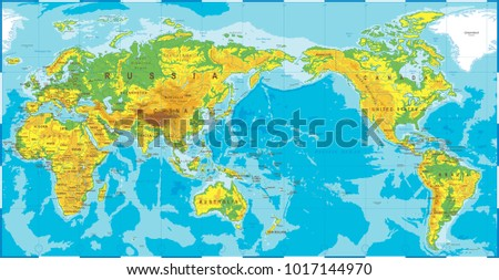Political physical topographic colored world map stock vector political physical topographic colored world map pacific centered vector gumiabroncs Gallery