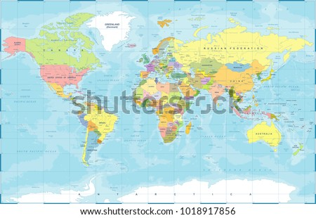 Political physical topographic colored world map vectores en stock political physical topographic colored world map vector illustration gumiabroncs