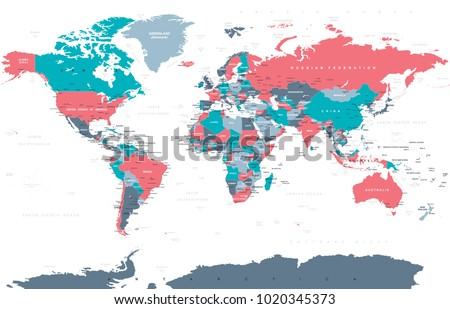 Political physical topographic colored world map stock vector political physical topographic colored world map vector illustration gumiabroncs Images