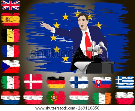 Political speech speaker. Orator speaks with a vigorous speech at the podium with a microphone. Flags of the countries of the European Union. Flag of the country in the background. Image. Vector. Icon - stock vector