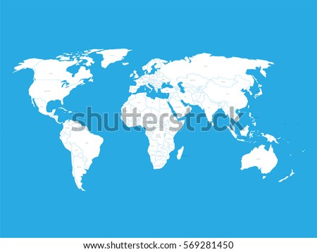 political vector world map with state name labels white land with black text on blue