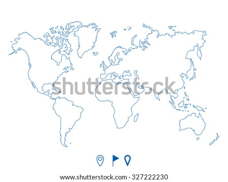 Political world blue map and contour illustration. - stock vector