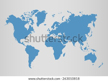 Political world blue map and vector illustration. - stock vector