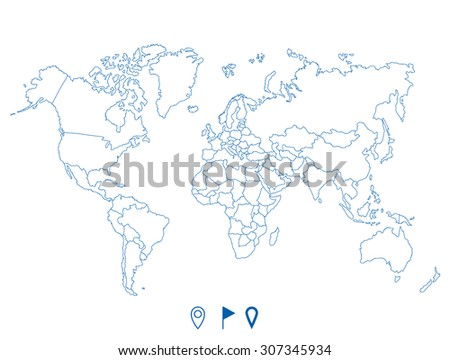 World map outline country graphic vector vectores en stock 582504274 political world blue map and vector illustration gumiabroncs Images