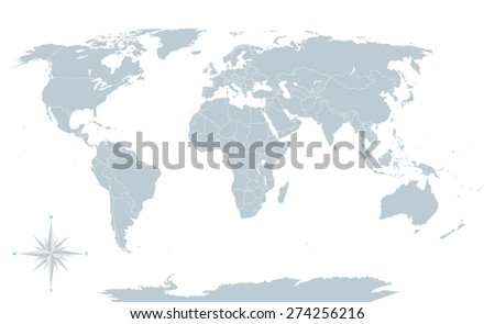 Political world map grey white borders stock vector 274256216 political world map grey with white borders every state and continent labeled and gumiabroncs
