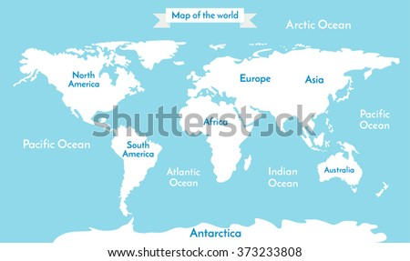 Political World Map illustration. Blue World Map Vector. World Map Illustration on soft blue background. World Map flat. World Map with the inscription of the oceans and continents - stock vector
