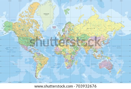 Political world map mercator projection vector de stock703932676 political world map in mercator projection gumiabroncs Choice Image