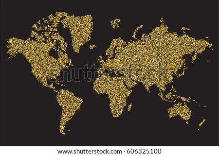 Gold map stock images royalty free images vectors shutterstock political world map isolated on black background gold glitter texture vector illustration gumiabroncs Images