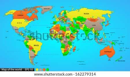 Political world map on ocean blue background, with every state labeled and selectable (labeled in Layers panel also). Versatile file, turn on an off visibility and color of each country in one click. - stock vector