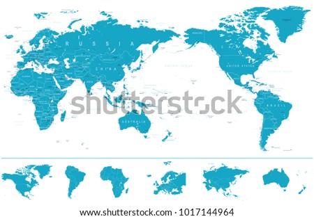 Political world map pacific centered continents stock vector political world map pacific centered and continents vector gumiabroncs Choice Image