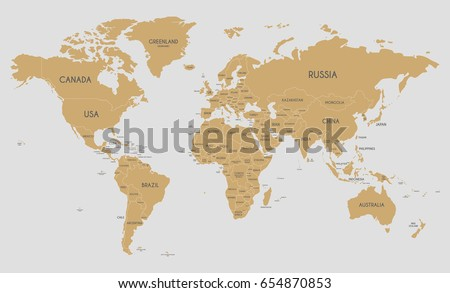 Political world map vector illustration editable vector de political world map vector illustration editable and clearly labeled layers gumiabroncs Choice Image