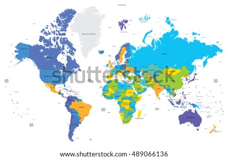 Political World Map Capitals Stock Vector Shutterstock - World map with capitals