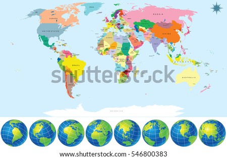 Political World Map with Earth Globes. Detailed Vector. Include all Titles of Countries and Capitals EPS10