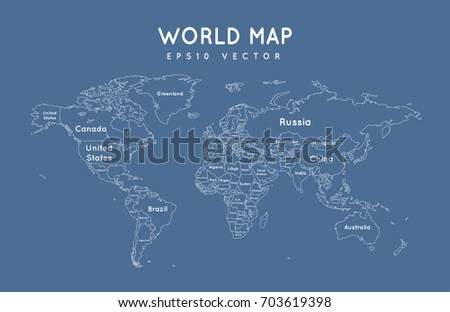 Political world map outline name borders stock vector 705761761 political world map with the name and borders of the countries gumiabroncs Images