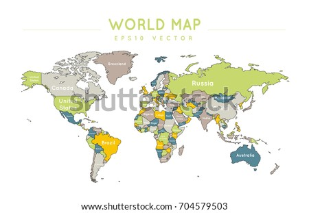 Political world map name borders countries stock vector 704579503 political world map with the name and borders of the countries gumiabroncs Choice Image