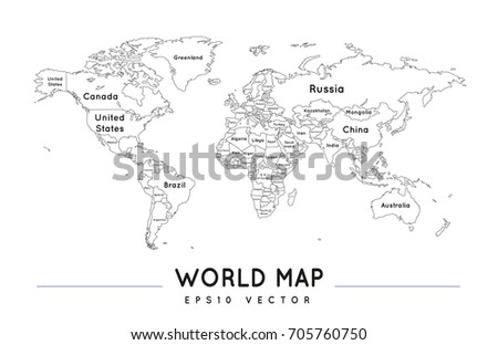 Political world map name borders countries stock vector 705760750 political world map with the name and borders of the countries gumiabroncs Image collections