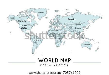 Political world map name borders countries stock photo photo political world map with the name and borders of the countries gumiabroncs Choice Image