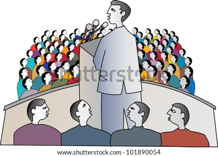 Politician at a political rally delivering a speech to supporters - stock vector