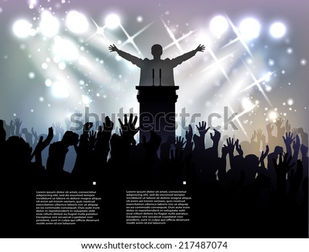 politician before audience at the background with spotlights - stock vector
