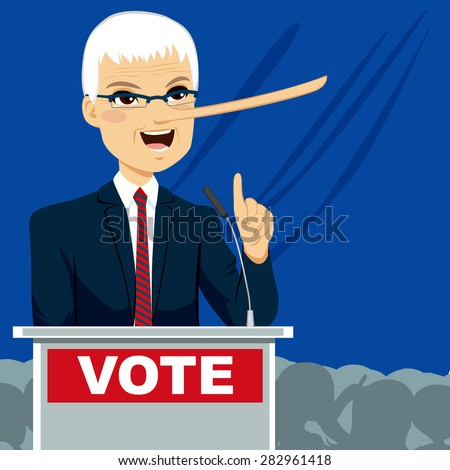 Politician with big nose lying on election speech - stock vector