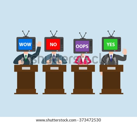 politician with tv head at the podium. press conference concept illustration. - stock vector