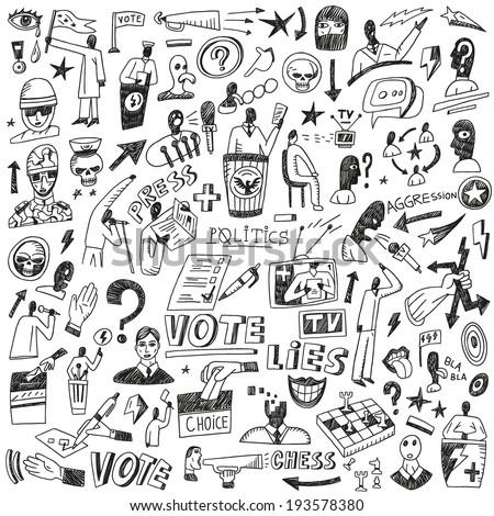 Politics - doodles set - stock vector