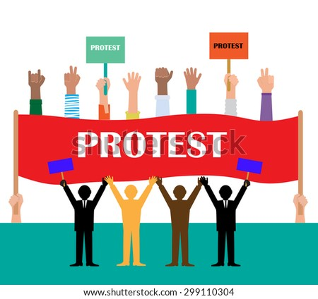 Politics.  Protest People Silhouette, Flag Banner Vector Illustration - stock vector