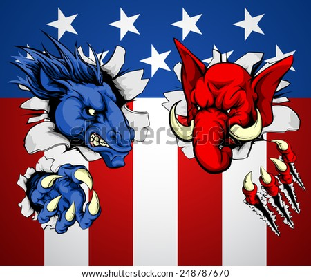Politics Republican and Democrat concept of angry donkey and elephant mascots facing off with each other - stock vector