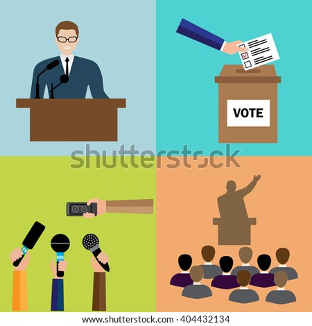 Politics, Voting and elections icons - vector icon set.  Transparency election and confidence social responsibility political campaign. - stock vector