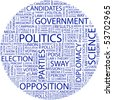 POLITICS. Word collage on white background. Vector illustration. - stock vector