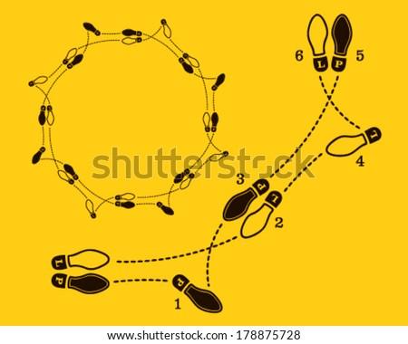 Stock Vector Polka Dance Steps on Dance Footprint Diagrams