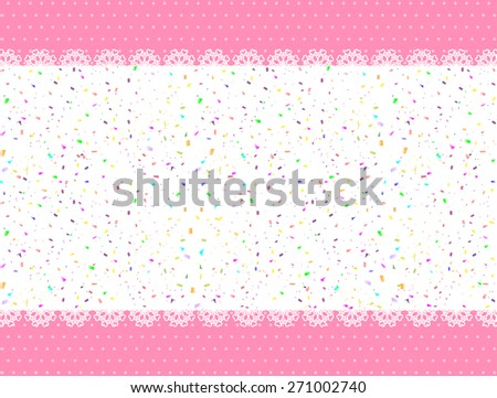 Polka dot background and confetti - stock vector