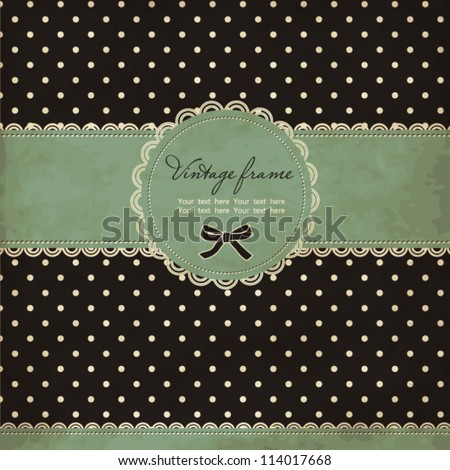 Polka dot card with frame and lace - stock vector