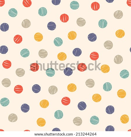 polka dot doodle seamless pattern - stock vector
