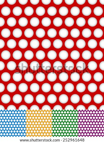 Polka dot, dotted backgrounds. Repeatable patterns with circle shapes. 5 colors included - stock vector