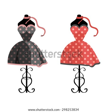 Polka-dot elegant vector dresses - stock vector