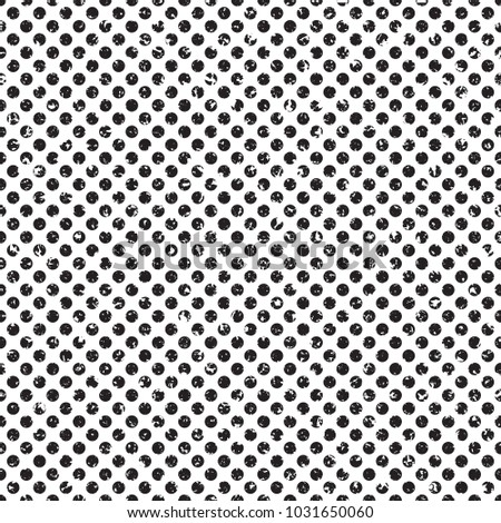 Polka dot grunge halftone seamless vector pattern distressed shading texture for your artwork