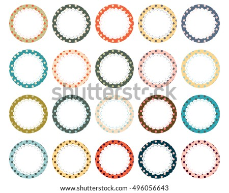 Polka Dot Scalloped Circle Label Frames Stock Vector (2018 ...