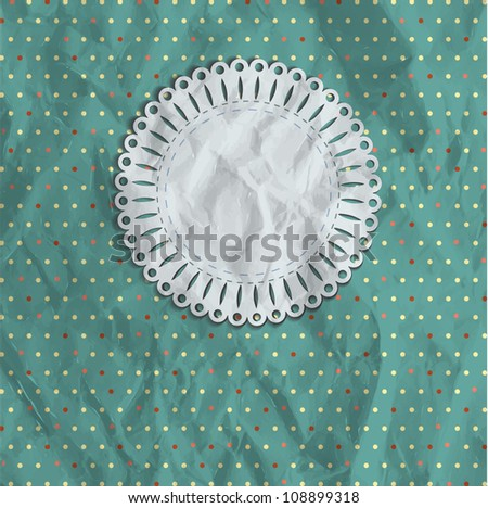 polka dot vintage background with blank lace paper note for your text - stock vector