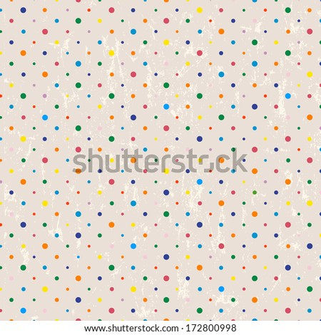 polka dots pattern, seamless with grunge background, retro style