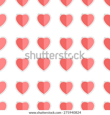 Polka dots seamless pattern with hearts. Valentines day background. Vector illustration. Pattern in flat style. Simple seamless pattern. - stock vector